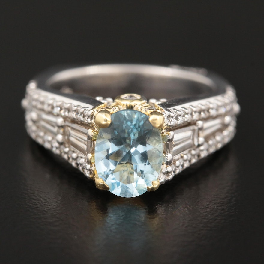 A. Jaffe 14K White Gold Aquamarine and 1.35 CTW Diamond Ring