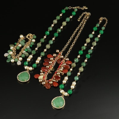 Carolee Carnelian, Jasper and Quartz Necklaces and Bracelet