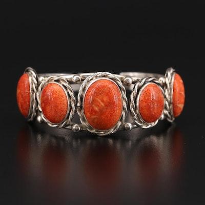 Benally Navajo Diné Sterling Spiny Oyster Cuff Bracelet
