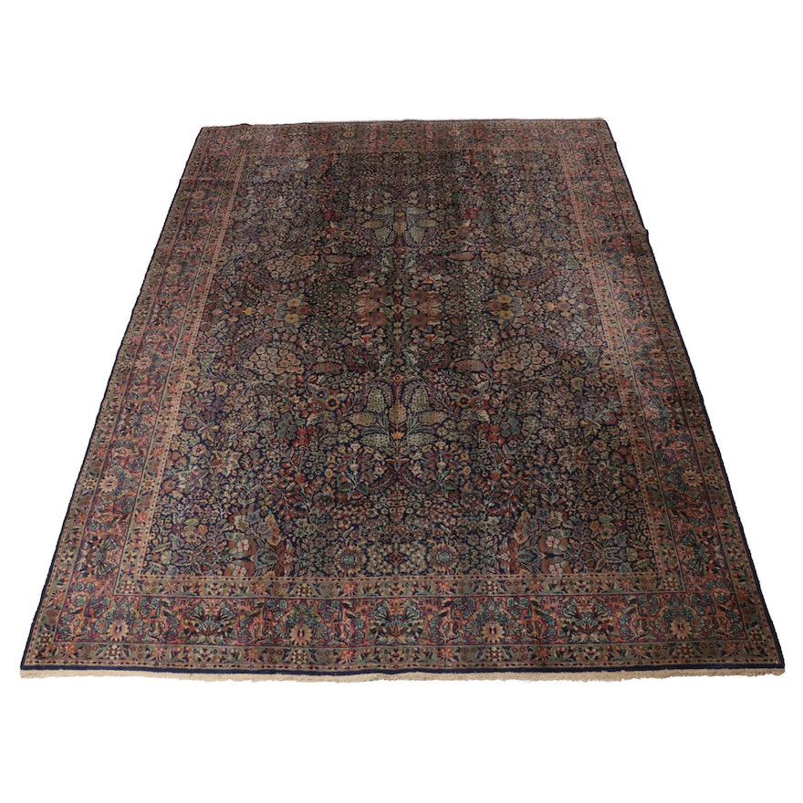 8'11 x 12'0 Hand-Knotted Bulgarian Persian Lavar Kerman Room Size Rug, 1940s