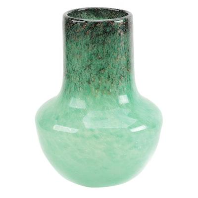 Monart Green, Black, and Aventurine Mottled Art Glass Vase, 20th Century