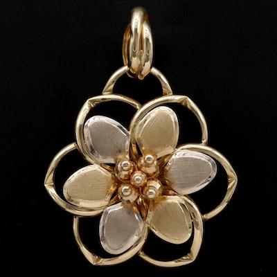14K Gold Floral Pendant