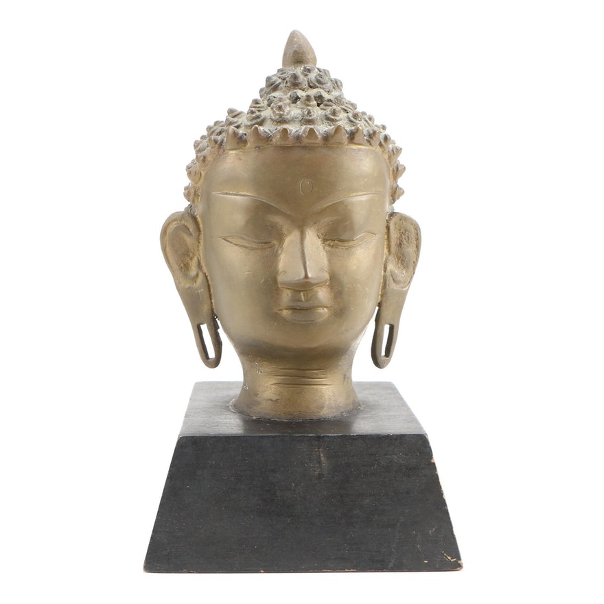 Cast Brass Head of Buddha on Wooden Base, Late 20th Century