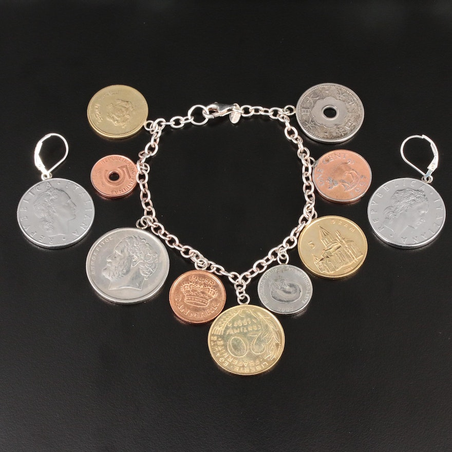 Sterling Silver Modern Coin Bracelet and Earrings Featuring International Coins