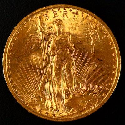 """1908 """"No Motto"""" St. Gaudens $20 Gold Coin"""