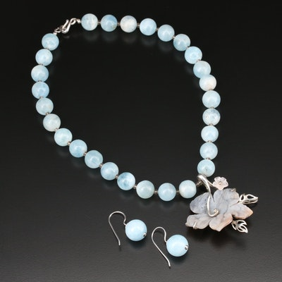 Sterling Silver Aquamarine, Rose Quartz, and Agate Necklace and Earring Set