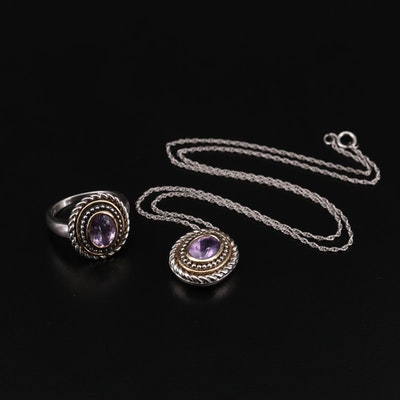 Sterling Silver Amethyst Ring and Necklace with 10K Accents