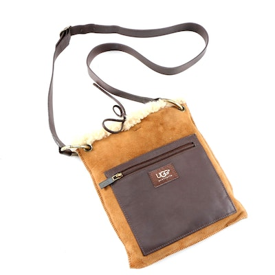 UGG Australia Suede, Shearling and Leather Crossbody Bag