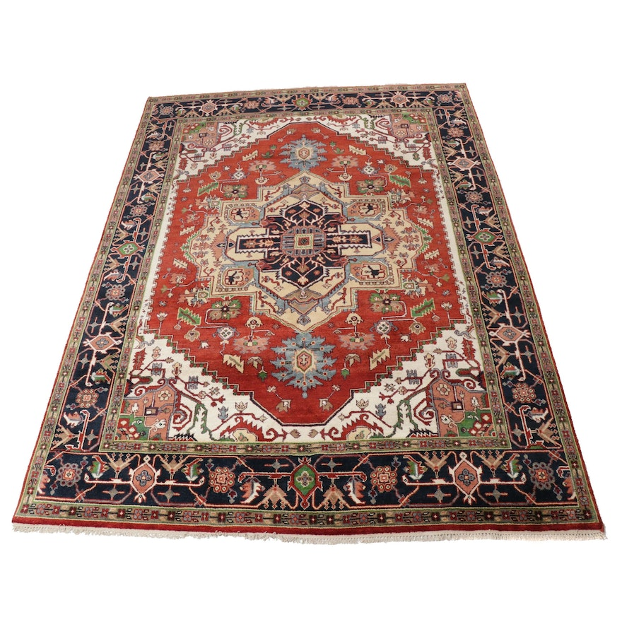 8'7 x 12'1 Hand-Knotted Indo-Persian Heriz Serapi Room Size Rug, 2010s