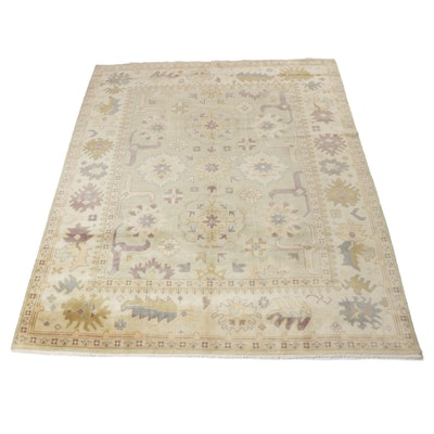 8'2 x 10'2 Hand-Knotted Indo-Turkish Oushak Room Size Rug, 2010s
