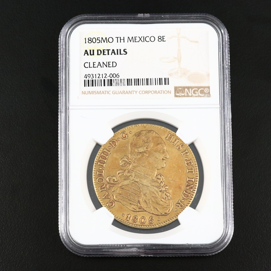NGC Graded Mexican 8 Escudos Gold Coin