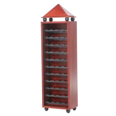 Postmodern Birch Wine Cabinet with Pyramidal Top, Late 20th Century