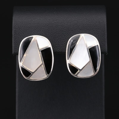 Sterling Mother of Pearl and Black Onyx Earrings