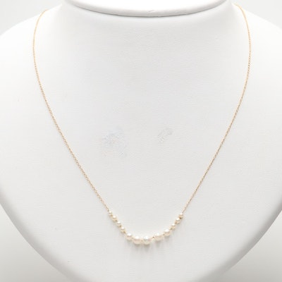 14K Yellow Gold Graduated Cultured Pearl Necklace