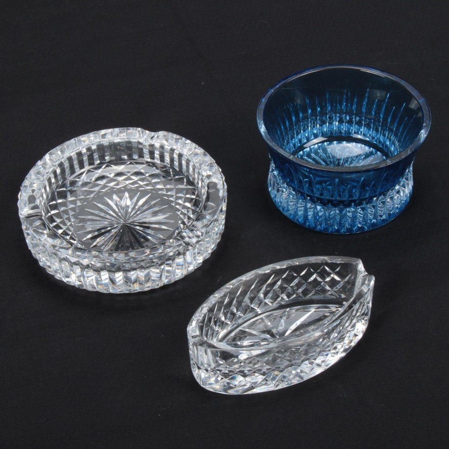 "Waterford Crystal ""Lismore Diamond"" Nut Bowl with Waterford Crystal Ashtrays"