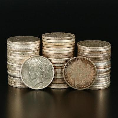 Sixty American Silver Dollars Including Pre-1921 Morgan