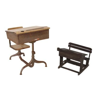 Elementary School Desk and Doll-Size Wooden School Desk, 20th Century
