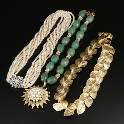 Carolee Lux Green Quartz, Pearl and Rhinestone Necklaces