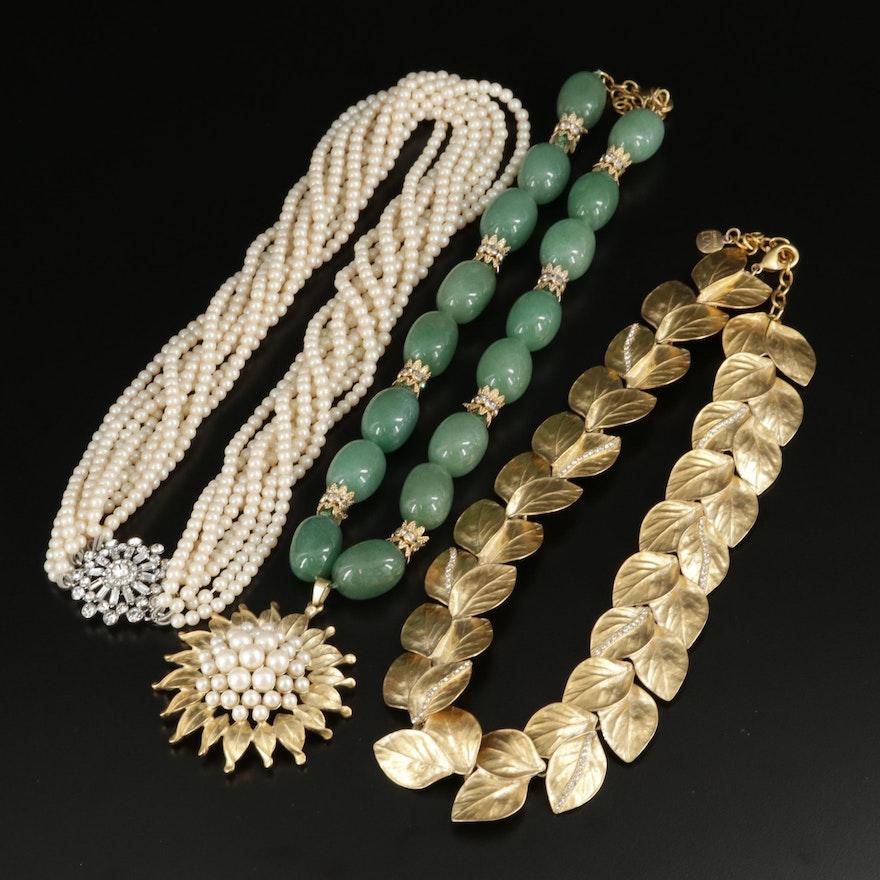 Carolee Lux Green Quartz, Pearl and Rhinestone Necklaces