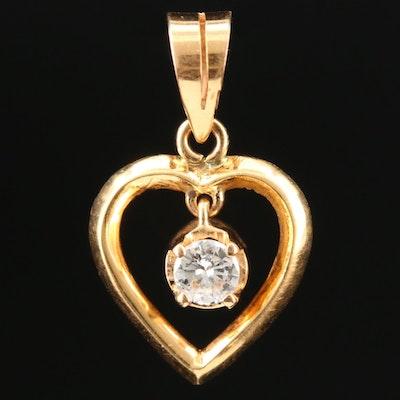 14K Yellow Gold Diamond Heart Pendant