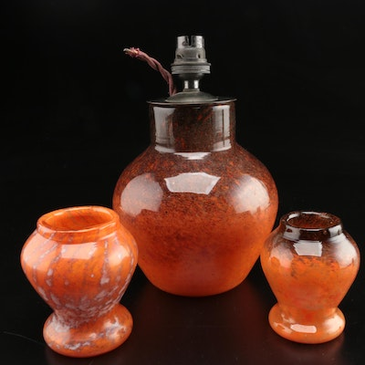 Scottish Monart Art Glass Lamp and Vases