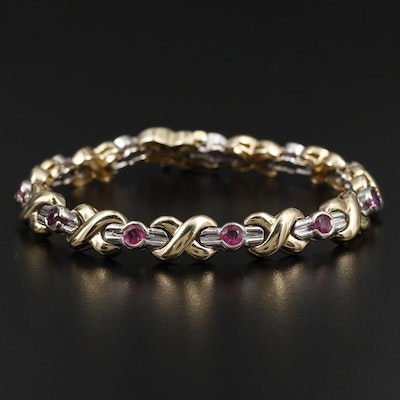 14K Yellow and White Gold Ruby Fancy Link Bracelet