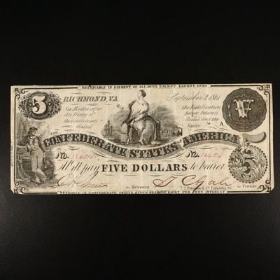 1861 T-36 Confederate $5 Currency Note