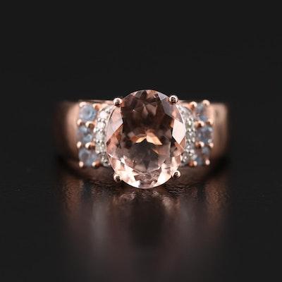 10K Rose Gold Morganite, Diamond and Aquamarine Ring