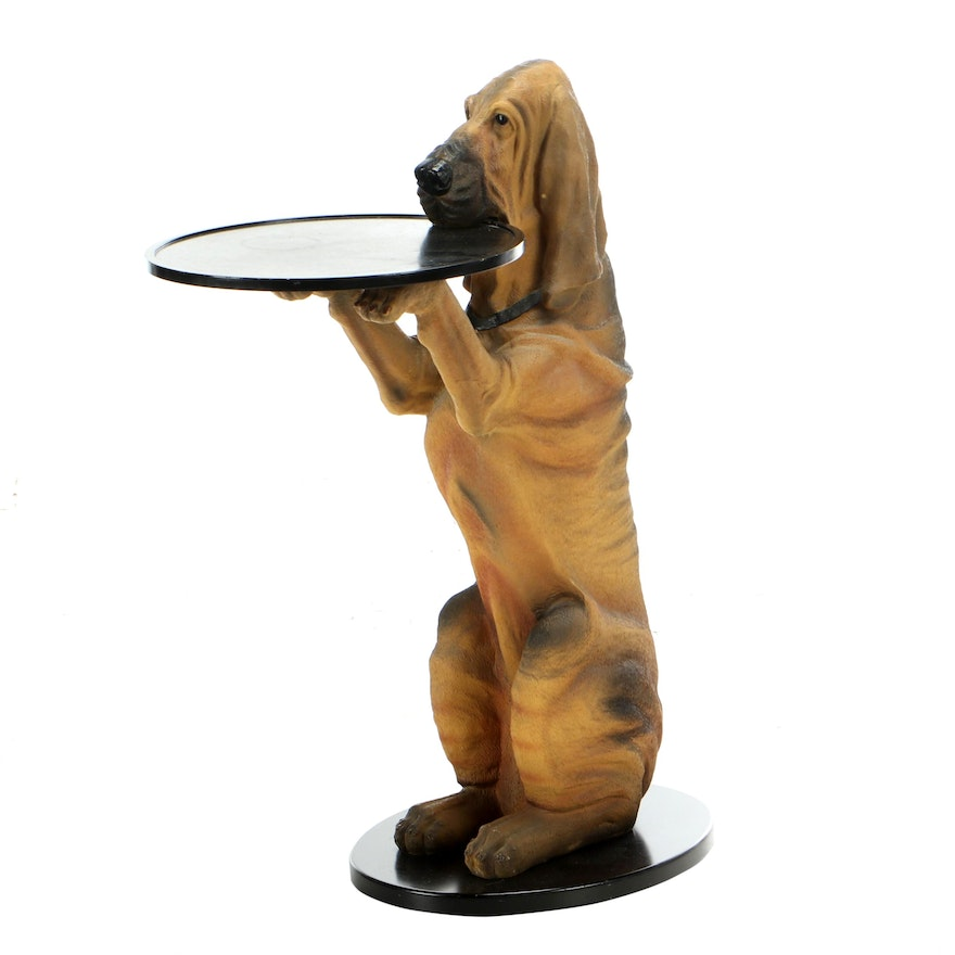 """The Bombay Company """"Sir Hawthorne"""" Composite Hound Dog Butler Table, 1998"""