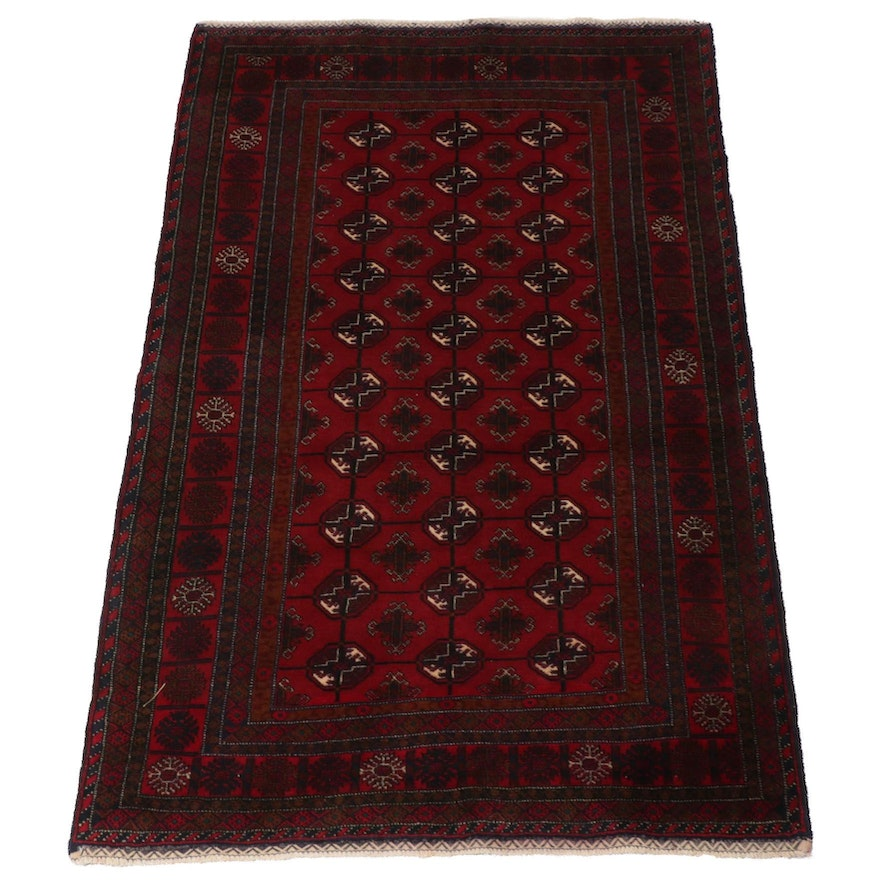 3'10 x 6'6 Hand-Knotted Persian Turkoman Rug, 1990s