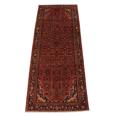 3'7 x 10' Hand-Knotted Persian Nahavand Rug Runner, 1970s