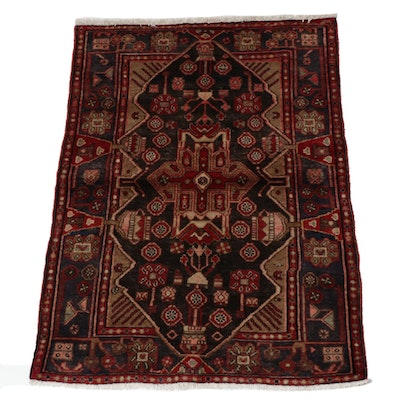 3'7 x 5'3 Hand-Knotted Persian Nahavand Rug, 1970s