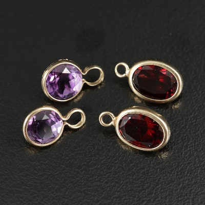 14K Yellow Gold Amethyst and Garnet Charm Pendants