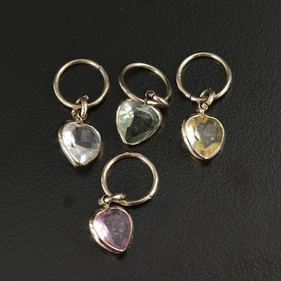 Glass Heart Charm Pendants