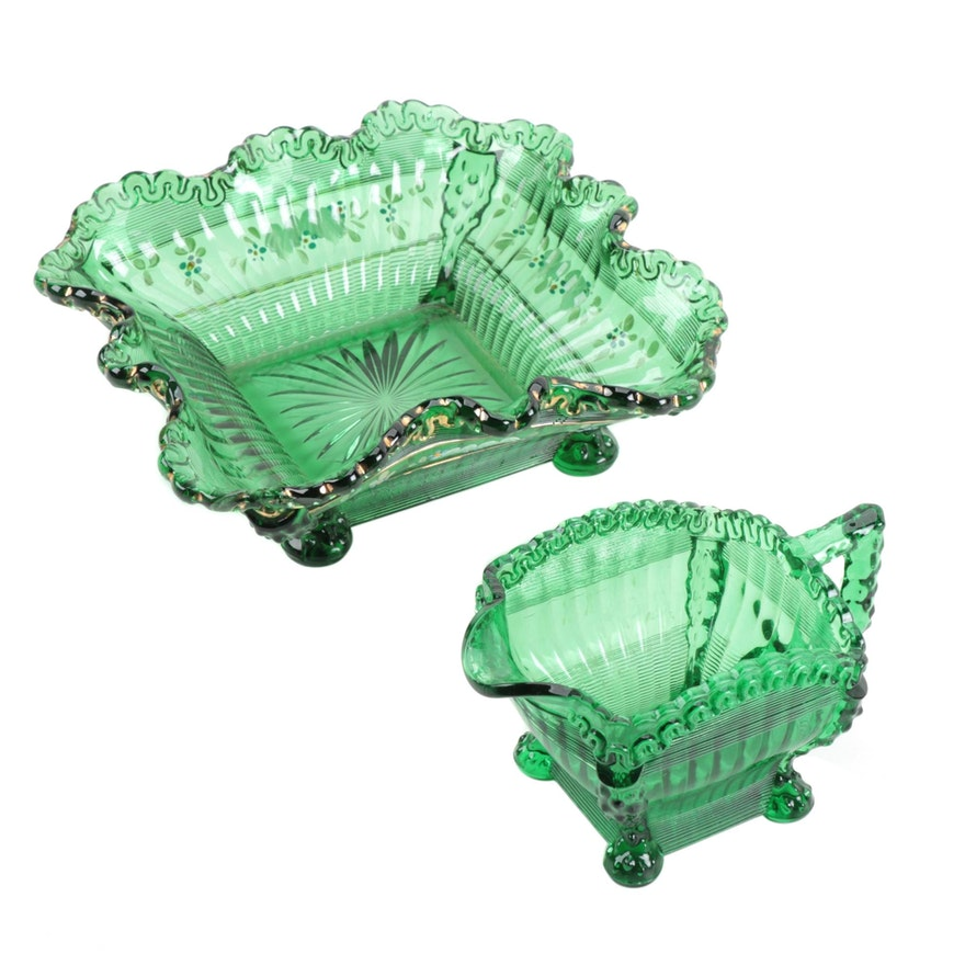 """Northwood """"Alaska"""" Pressed Glass Berry Bowl and Creamer in Green"""