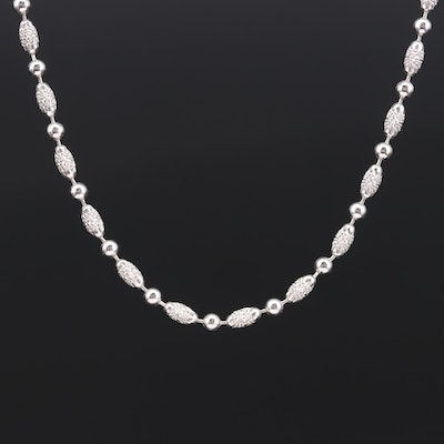 Italian 14K White Gold Textured Fancy Chain Link Necklace