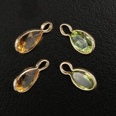 14K Yellow Gold Peridot and Citrine Charm Pendants