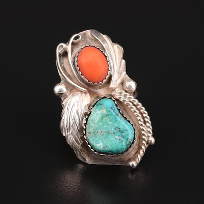 Robert Kelley Navajo Diné Coral and Turquoise Ring