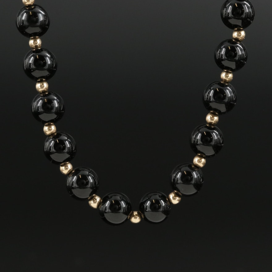 14K Yellow Gold Black Onyx Beaded Endless Necklace