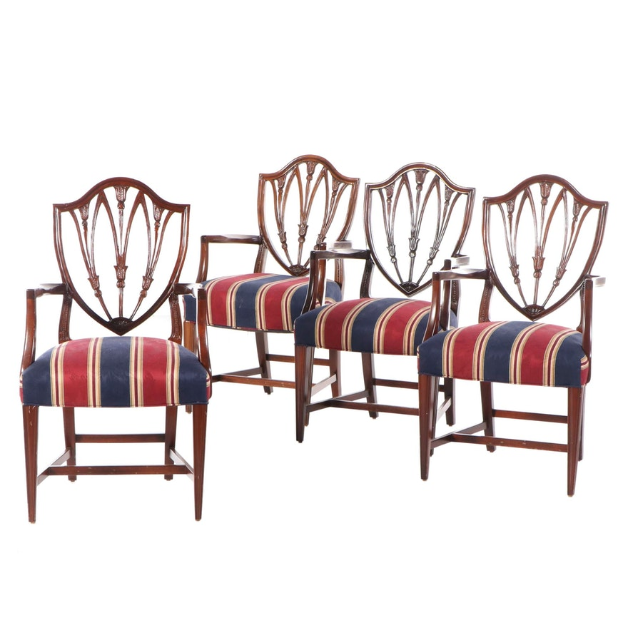 Four Hepplewhite Style Shield-Back Chairs, Early to Mid 20th Century
