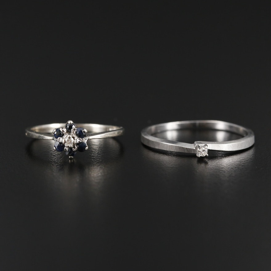 14K and 10K White Gold Diamond and Sapphire Ring