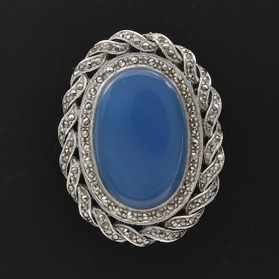 Vintage Sterling Silver Chalcedony and Marcasite Brooch