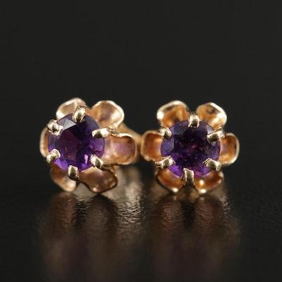 14K Yellow Gold Amethyst Stud Earrings in Buttercup Setting