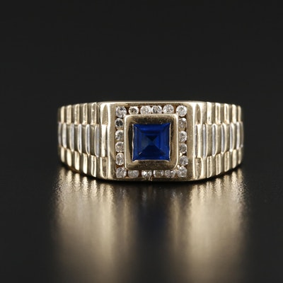 14K Yellow Gold Spinel and Diamond Ring in a Fluted Mounting