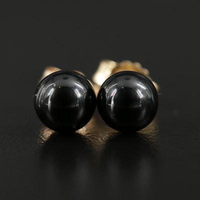 14K Yellow Gold Black Onyx Stud Earrings
