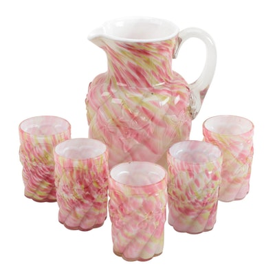 "Northwood ""Royal Ivy"" Cased Glass Water Pitcher and Tumblers"