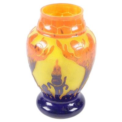 Le Verre Francais Mottled Cameo Glass Vase