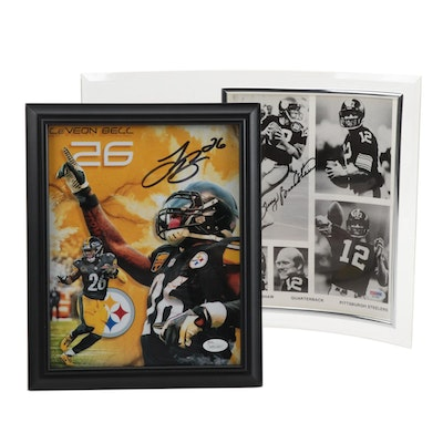 Terry Bradshaw and Le'Veon Bell Signed Steelers Items  COAs