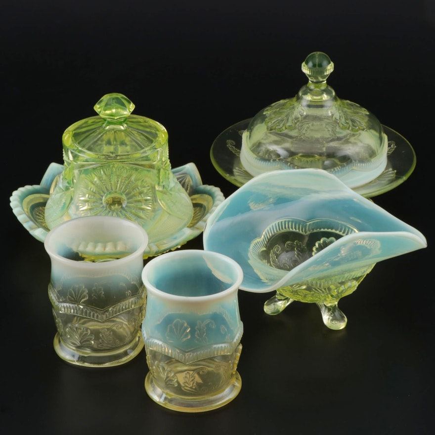 "Northwood ""Manila"" and ""Diadem"" Vaseline Glass Tableware"