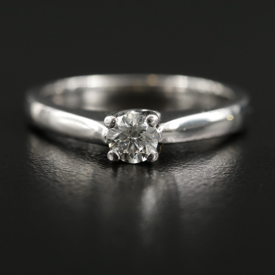 18K White Gold 0.33 CT Diamond Solitaire Ring with Platinum Accent
